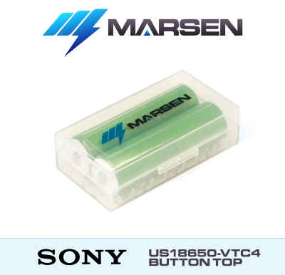 Sony US18650 VTC4 2100mAh 3.6V button top in case