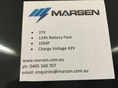 37V 12Ah 10S4P skateboard battery pack label